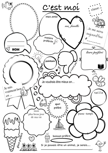 C'est moi - présentation, français, French introducing worksheet, Communicative and fun!