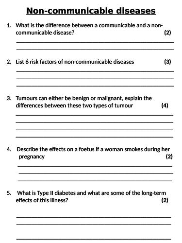 NEW AQA GCSE Trilogy (2016) Biology - Non-communicable Diseases Homework