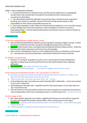 Augustine GENERAL ESSAY PLAN - OCR Religious Studies - Developments in Christian Thought