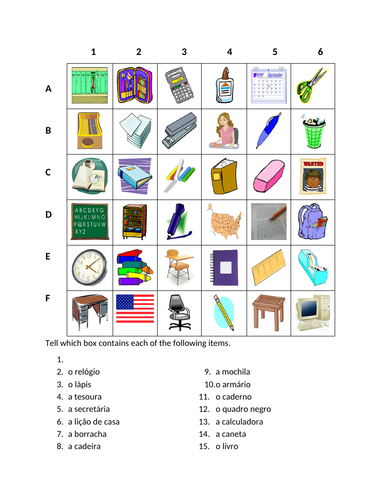 Material escolar (School Objects in Portuguese) Find it Worksheet