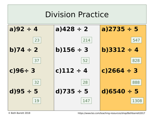 Division Practice - Differentiated with answer - dividing by a unit