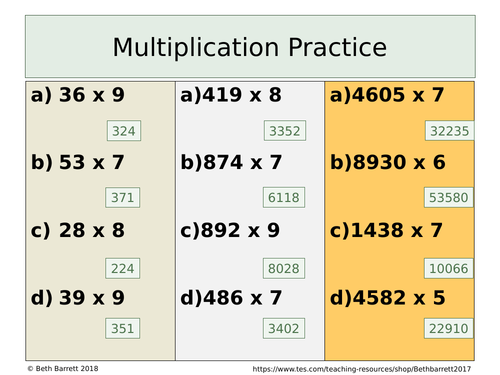 Multiplication Practice - Differentiated with answer - Mutliplying by a unit