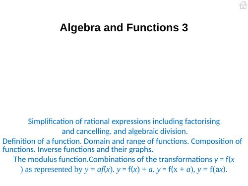 Pure Mathematics 3 (Algebra and Functions) PowerPoint