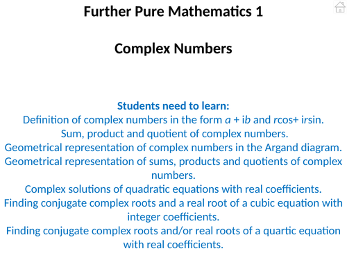 Further Pure Mathematics 1 (Complex Numbers) PowerPoint