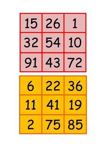 Bingo cards 0-100