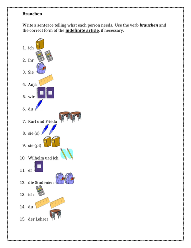 Brauchen und Schulsachen (School Supplies in German) Worksheet