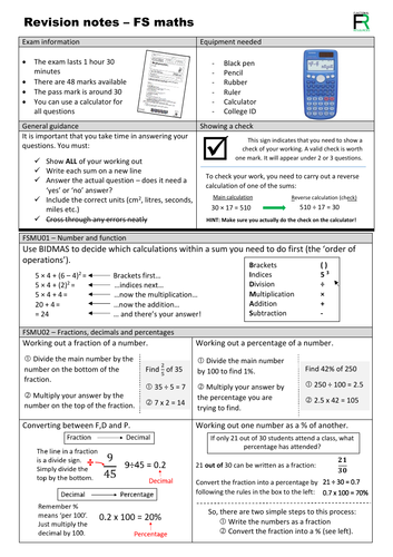 Level 2 maths quick reference revision guide