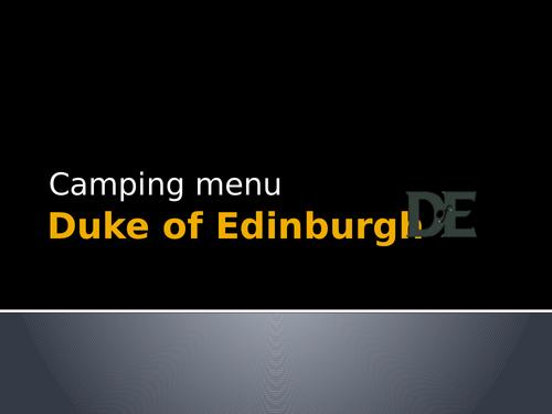 Duke of Edinburgh Camping Food