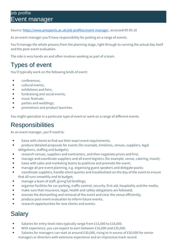 L3 BTEC Business (2016 spec) Unit 4 Managing an Event - P1 Role and Skills of Events Organiser