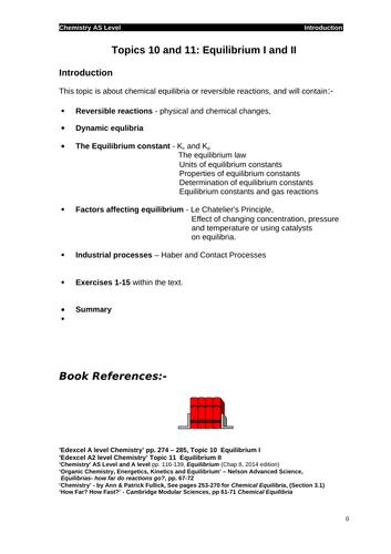Edexcel chemistry Topic 10 + 11: Equilibrium I + II