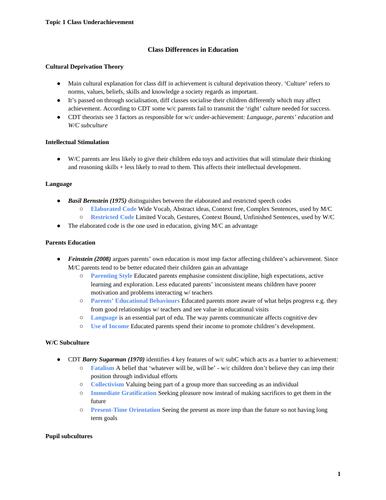 A Grade Class and Underachievement Sociology Notes