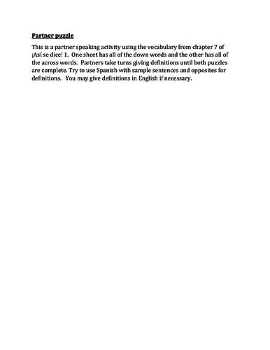Así se dice 1 Capítulo 7 Partner Speaking activity