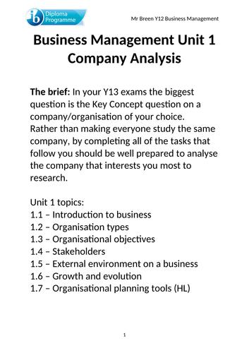 Unit 1 IB Business Management Key Concept project