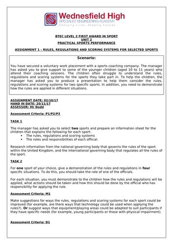 BTEC Sport Unit 2 Assignment Briefs