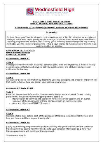 BTEC Sport Unit 5 Assignment Briefs