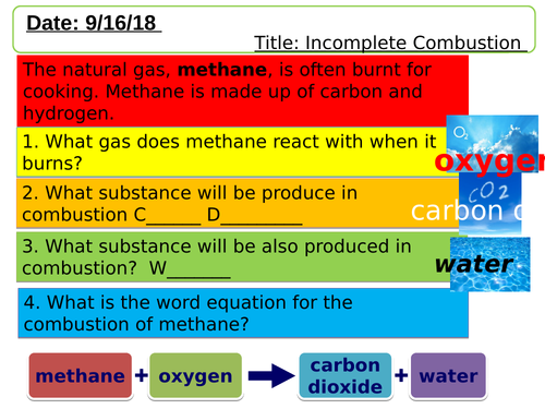Incomplete Combustion lesson.