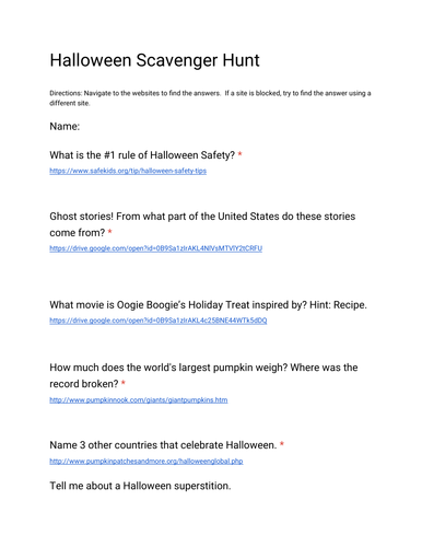 halloween online scavenger hunt by battista2288 teaching resources