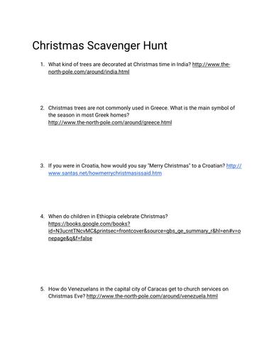 Christmas Online Scavenger Hunt