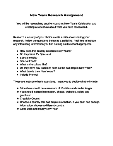 New Years Worksheet/PowerPoint Assignment