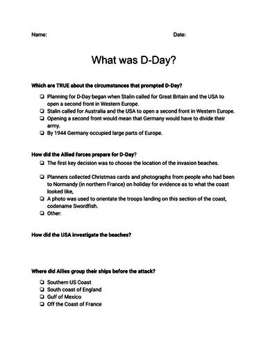 D-Day Presentation & Worksheet - Veteran's Day Assignment