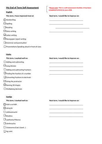 End of term self-assessment (KS2/5th-6th class) Editable