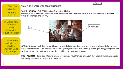 AQA / EDUQAS - Jesus and Situation Ethics - Observation and outstanding lesson