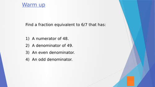 KS3 Lesson Powerpoint - Fraction (Comparing & Ordering)
