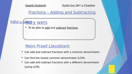 KS3 Lesson Powerpoint - Fractions (Adding & Subtracting)