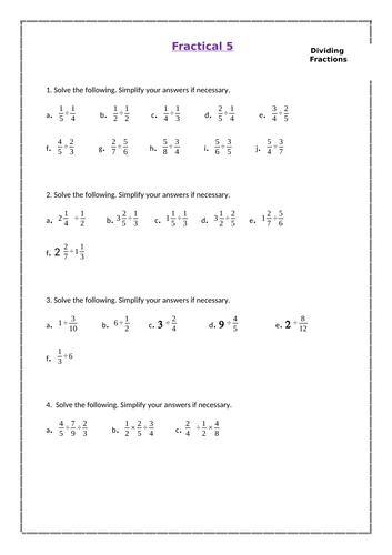 KS3 Lesson Worksheet - Fractions (Dividing)