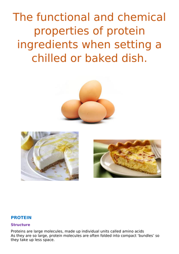 The functional and chemical properties of protein ingredients when setting a chilled or baked dish.