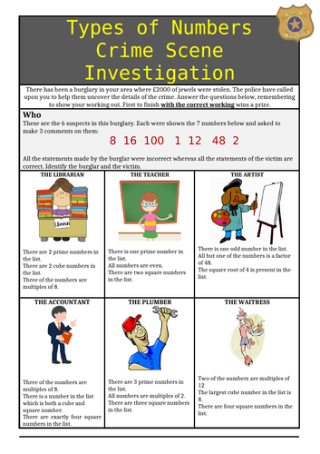 Factors, Multiples, Roots, Primes, Squares and Cubes Murder Mystery