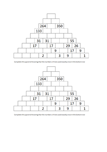 KS3 Large Addition Pyramid with 43 cells and 9 rows. Involves logic, addition and subtraction