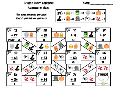 Double Digit Addition Without Regrouping Game Halloween Math Maze by ...