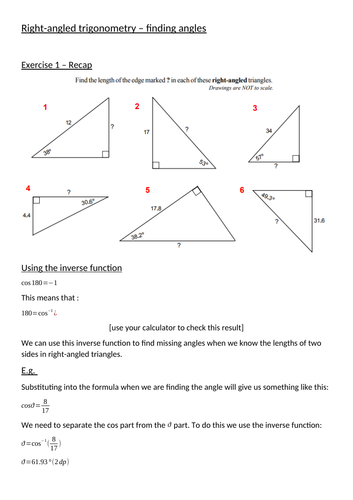 Trigonometry Missing Angles By Mrgunnmaths Teaching