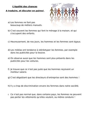 Egalite des chances (intermediate)