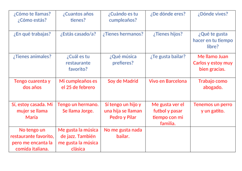 Basic Spanish conversational  match up activity