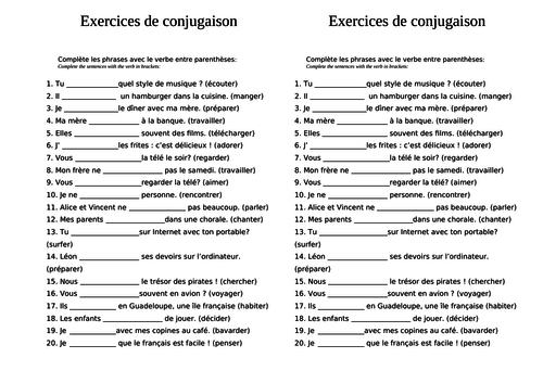 ER verbs ending practice / test