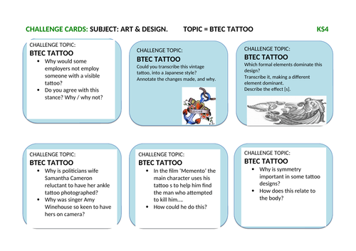 Art & Design Most Able / Gifted & Talented Challenge Task Cards