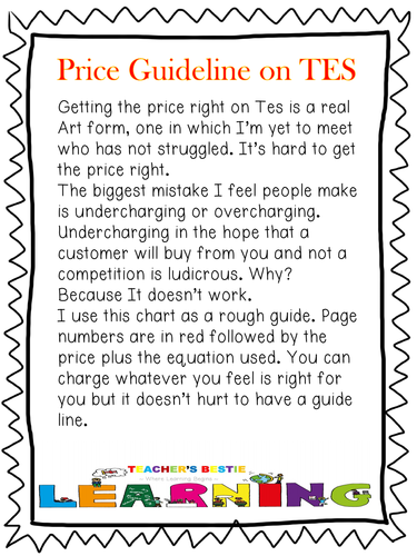Free Price guide for TES Author Uploads