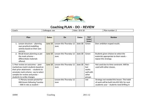 Teaching & Learning Coaching Plan-Do-Review