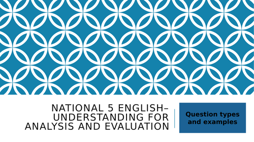 Full  Reading for Understanding, Analysis and Evaluation PowerPoint Unit: National 5