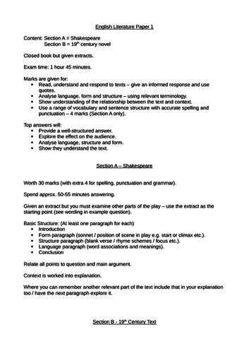 AQA GCSE English Literature Exam Paper 1 & Paper 2 Outline Information Mark Scheme Answer Structure