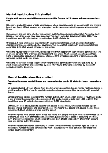 Effects of Mental Health Problems