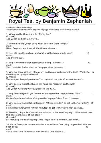 Benjamin Zephaniah - Comprehension - Royal Tea