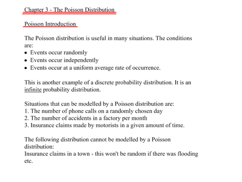 A-Level Statistics- Poisson Distribution