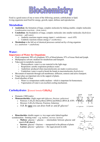 Biochemistry detailed revision guide