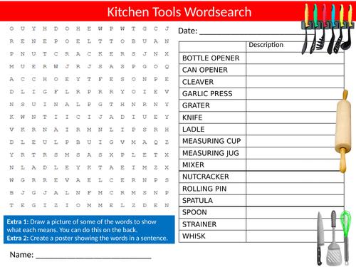 Kitchen Tools Wordsearch Sheet Starter Activity Keywords