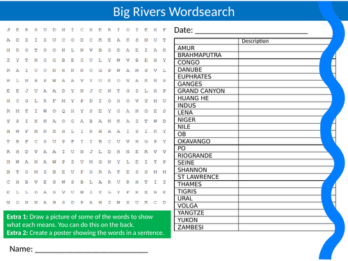 3 x Rivers Wordsearch Sheet Starter Activity Keywords Cover Homework Geography