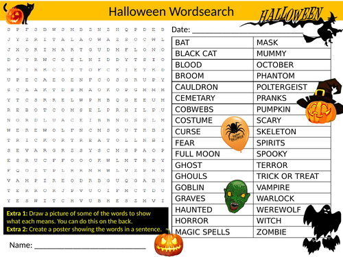 Halloween Wordsearch Sheet Starter Activity Keywords Cover Homework Scary  Holiday
