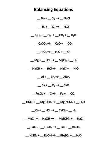 Balancing Equations Worksheet by Twilight101 | Teaching ...